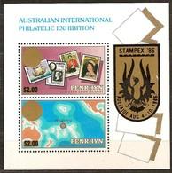 Penrhyn 1986 Yvertn° Bloc 72*** MNH Cote 11,00 Euro Stampex '86 Adelaide Australie - Penrhyn