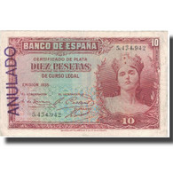 Billet, Espagne, 10 Pesetas, 1935, 1935, KM:86a, TTB - 10 Pesetas