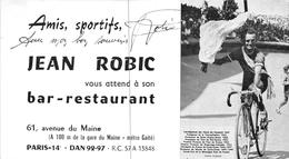 """PARIS - Carte De Visite Du Bar-Restaurant Du Coureur Cycliste """" Jean ROBIC """" 61 Avenue Du Maine - Voir Description - Distretto: 14"""