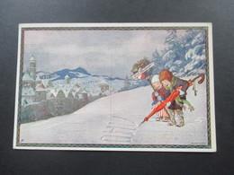 AK Künstlerkarte Ernst Kutzer 1913 Neujahrkarte Nr. 202 Kinder Spielen Im Schnee - Kutzer, Ernst