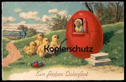 ALTE POSTKARTE EIN FROHES OSTERFEST VERMENSCHLIICHTE KÜKEN MUSIKANTEN Ostern Easter Humanised Biggy Chick Egg Postcard - Animali Abbigliati