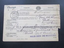 Schweiz 1890 Brief / Charge Einzugsmandat Basler Check Und Wechselbank. Stempel Basel Mandate / Grellingen - Covers & Documents