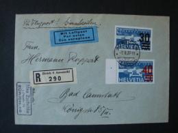 Schweiz, Luftpostbrief  Einschreiben Mi-Nr. 291 + 293b Zürich-Bad Cannstadt 1937 - Poste Aérienne