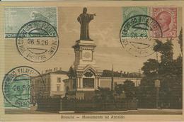 """""""XIII CONGRESSO FILATELICO ITALIANO"""",BRESCIA,ANNULLO SPECIALE ,1926,CARTOLINA B/N MONUMENTO AD ARNALDO,BRESCIA, - Esposizioni Filateliche"""