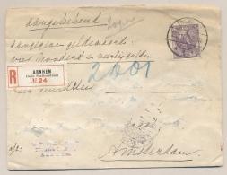 Nederland - 1909 - 17,5 Cent Bontkraag Op Commercial R-cover Met Aangegeven Waarde Van Arnhem Naar Amsterdam - Periode 1891-1948 (Wilhelmina)