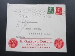 Norwegen 1932 Firmenbrief E. Galtung Dosvig Manufaktur Bergen Nach Zwonitz In Sachsen - Norwegen