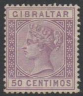 GIBRALTAR - 1889 50c Queen Victoria. Scott 34. Mint No Gum - Gibraltar