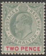 GIBRALTAR - 1903 2d King Edward. Scott 41.  MNH. Couple Perf Tones - Gibraltar