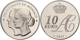 539 10 Euro, 2011, Albert II., Auf Die Hochzeit, Mit Zertifikat In Schatulle Und OVP, PP. Auflage Nur 4000 Stück!  PP - Monaco