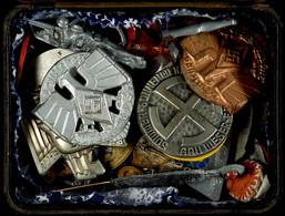 1493 Kleine Plastikschachtel Mit 36x Tagungs-, Veranstaltungs-, Mitglieds- Und WHW-Abzeichen, Unterschiedlicher Zustand. - Army & War