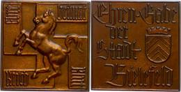 1495 Bielefeld, Zweiseitige Bronzeplakette, O.J., Ehrengabe Der Stadt Bielefeld, Av: Pferd Vor Hakenkreuz In Den Vier Ec - Army & War