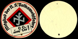 1500 NSV, Glasplakette, Mitglied Der N.S. Volkswohlfahrt, 21,9 G, 69 Mm, Gelocht, Zustand II.  II - Army & War