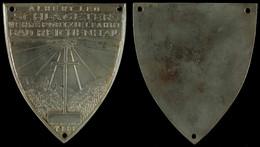 1504 Bad Reichenhall, Einseitige Eisenguss Plakette, Albert Leo Schlageter Wehrsportzielfahrt Bad Reichenhall 1933, 78,2 - Army & War