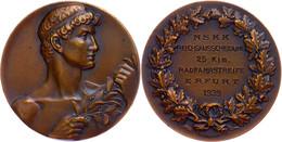 1514 NSKK, Bronzemedaille, NSKK Reichsausscheidung 25 Klm. Radfahrstreife Erfurt 1939, Av: Grieche Mit Zweig Nach Rechts - Army & War