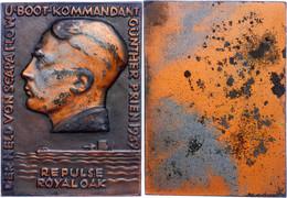 1517 U-Boot, Einseitige Bronzeplakette, 1939, Zum 20. Jahrestag Der Selbstversenkung Der Kaiserlichen Hochseeflotte In D - Army & War