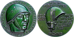 1520 Berlin-München-Wien, Medaille Grün Lackiert, 1942-1943, Ausstellungsmedaille Von F. Giannone, Av: Soldatenkopf Nach - Army & War