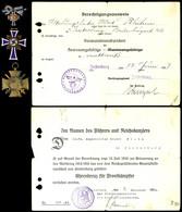 1549 Kleiner Nachlass Mit Berechtigungsausweis Zum Tragen Des Verwundetenabzeichens Für Heeresangehörige In Mattweiß, Da - Other