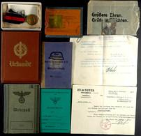 """1555 Nachlass Eines Pioniers Der Eisenbahnbaukolonne 9 Mit Wehrpass Mit Eintragungen, Mitgliedsbuch """"Der Stahlhelm"""" Bund - Other"""