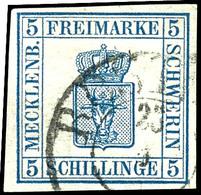 """1797 5 S. Blau, Tadellos Gestempelt K2 """"ROSTOCK"""", Allseits Voll- Bis Breitrandig, Kabinett, Gepr. Pfenninger, Mi. 400.-, - Mecklenburg-Schwerin"""