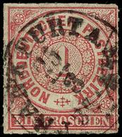 """2064 1 Gr. Mittelrotkarmin, Im Kreuzergebiet Verwendete Groschenmarke, Zentrischer Taxis-K1 """"FRANKFURT A.M."""", Rechts Unt - Norddeutscher Postbezirk"""