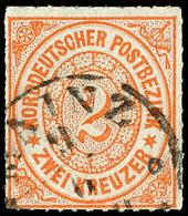 """2067 2 Kr. Orange, Farbfrisches Kabinettstück Mit Taxis-K1 """"MAINZ"""", Gepr. H. Krause, Katalog: 8 O - Norddeutscher Postbezirk"""
