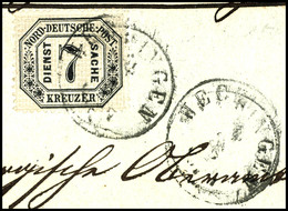 2076 7 Kr. Dienstmarke Mit EKr. HECHINGEN Auf Briefstück, Pracht, Signiert Starauschek, 350,-, Katalog: 9 BS - Norddeutscher Postbezirk
