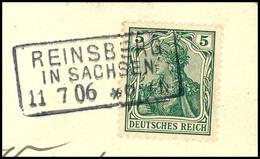 """2077 """"REINSBERG IN SACHSEN 11 7 06"""" - Ra3, Feuser 818, Klarer Und Vollständiger Abschlag Auf Ansichtskartenabschnitt DR  - Norddeutscher Postbezirk"""