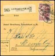 2449 2,50 M. Rosalila Als Portogerechte Einzelfrankatur Auf Paketkarte Aus FRANKFURT 29.3.20 Nach Memel, Pracht, Signier - Germany