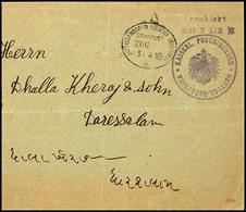 """3577 MITTELLANDBAHN (DEUTSCH-OSTAFRIKA) / BAHNPOST ZUG 3.4.16 A, Barfrankatur Mit Dienstsiegel Und L2 """"Frankiert Mit 7 1 - Colony: German East Africa"""