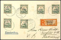 3636 FONTEMDORF 22/9 06, Je Klar Auf Portorichtigem R-Brief (R-Zettel Fleckig) Mit 6mal  5 Pfg Kaiseryacht Nach Eisfeld  - Kolonie: Kamerun