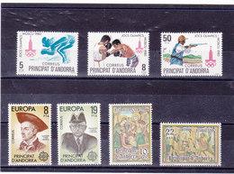 ANDORRE ESPAGNOL 1980 Année Complète  Yvert 124-130 NEUF** MNH - Andorre Espagnol