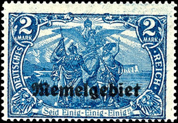 """4041 2 Mark Deutsches Reich Blau Mit Aufdruck """"Memelgebiet"""", Abart """"26:17 Statt 25:17 Zähnungslöcher"""", Ungebrauchtes Lux - Klaipeda"""