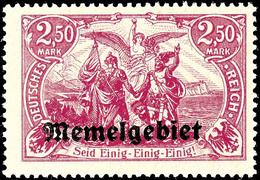 """4042 2,50 Mark Deutsches Reich Mit  Aufdruck """"Memelgebiet"""", Dunkelkarminlila, Tadellos Postfrisch, Signiert Richter Und  - Klaipeda"""