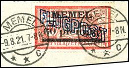 "4049 60 Pf Auf 40c., Weißes Papier, Gest. ""MEMEL 9.8.21"" Auf Briefstück, Sign. Nagler VP, Mi. 200.-, Katalog: 41Iy BS - Klaipeda"