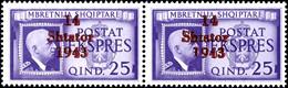 """4249 25 Q. Eilmarke Im Waagr. Paar, Davon Rechte Marke Mit Aufdruckplattenfehler """"1 Von 1943 Unten Verkürzt"""", Postfrisch - Albania"""