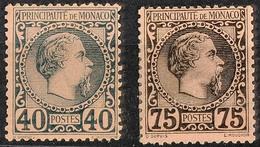 5820 40 C. Und 75 C. Charles III. Für Diese Ausgabe Sehr Gut Gezähnt. 75 C. Mit Erstfalz Und Rückseitig Geglätteter Waag - Monaco
