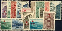 """5824 1940, 20 C. + 1 Fr. Bis 20 Fr. + 5 Fr. """"Rotes Kreuz"""", Kompletter Satz Mit 15 Werten, Tadellos Postfrisch, Mi. 250.- - Monaco"""