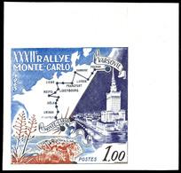 """5826 1963, 1,00 Fr. Rallye Monte Carlo, Abart """"ungezähnt"""", Eckrandstück Oben Rechts, Tadellos Postfrisch, Katalog: 732U  - Monaco"""