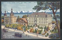 +++ CPA - Suisse - NEUCHATEL - Hôtel Terminus Et Hôtel Des Alpes  // - NE Neuchâtel