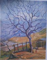 Lebanon Painting By Mustafa Farroukh - 1960s Ltd Edition Official Reprint By The Painter Himself - WINTER BHAMDOUN 1951 - Livres, BD, Revues