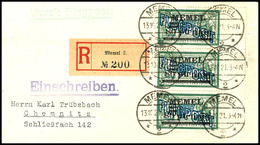 7420 80 Pfg. Auf 45 C. Flugpost Im Senkrechten 3er-Streifen Mit Rechtem Bogenrand Auf R-Lp-Brief Aus MEMEL 13.10.21 Mit  - Klaipeda