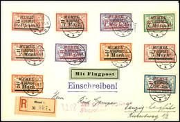 7422 40 Pfg. - 9 M. Flugpost-Aufdruckausgabe Kpl. Auf R-Luftpostbrief Aus MEMEL 18.10.22 Nach Danzig Mit Flugpost-Best.- - Klaipeda