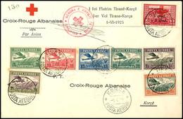 7428 5 Q. - 3 Fr. Flugpost Kpl. Und 10 Q. + 5 Q + 5 Q. Rotes Kreuz Auf Rotes Kreuz Erstflugbrief Aus TIRANA 1.6.25 Nach  - Albania