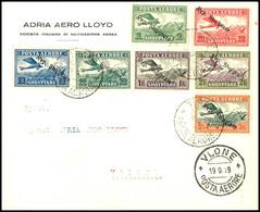 7429 5 Q. - 3 Fr. Flugpost-Aufdruckausgabe Kpl. Auf Luftpostbrief Aus TIRANA 19.9.29 Nach Vlora Mit Vorderseitigem Ankun - Albania