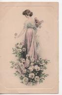 CPA.Illustrateur Non Signé.femme Debout Robe Longue De Dos Avec Roses.Vienne - Illustrators & Photographers