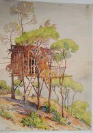 Lebanon Painting By Mustafa Farroukh - 1960s Ltd Edition Official Reprint By The Painter Himself LEBANESE TREE HOUSE1934 - Books, Magazines, Comics