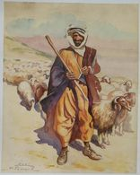 Lebanon Painting By Mustafa Farroukh - 1960s Ltd Edition Official Reprint By Painter Himself SHEPHERD NEAR BAALBECK 1944 - Boeken, Tijdschriften, Stripverhalen