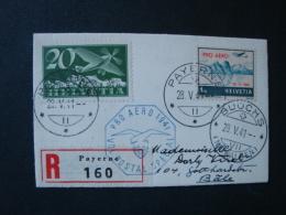 Schweiz, Luftpostbrief Einschreiben, Minibrief(10,4 Cm X 6,5 Cm), Pro Aero 1941, Mi-Nr. 213, 395, Payerne-Bäle - Erst- U. Sonderflugbriefe