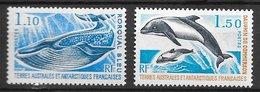 TAAF N°64 1F10 & N°65 1F50 Baleine Rorqual Dauphin 1977 ** - Neufs