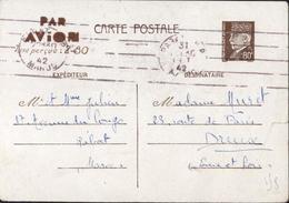 Entier Petain 80c Surcharge Par Avion Taxe Perçue 2.80 Flamme 5 Lignes CAD Rabat 31 Oct 42 Storch A2E6 P206 Maroc - Biglietto Postale